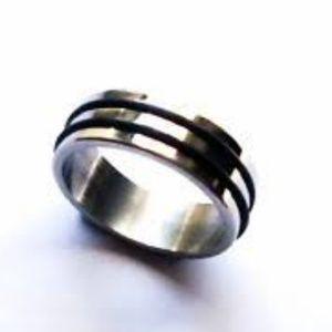 NEW Ring STAINLESS STEEL Men Women Unisex Rubber 2